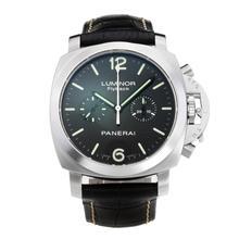 Replique Panerai Flyback chronographe suisse Luminor 1950 Valjoux 7750 Mouvement avec cadran noir-bracelet en cuir - Attractive montre Panerai Luminor Regatta pour vous 30869
