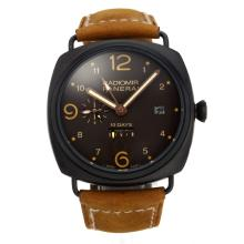 Replik Panerai Radiomir 10 Days Working Power Reserve Automatic PVD Case with Black Dial-Coffee Leather Strap – Attractive Panerai Radiomir Watch for You 30867