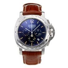 Replique Panerai Luminor Daylight Chronograph de travail avec cadran noir-bracelet en cuir - Attractive Autres Panerai montre pour vous 30838