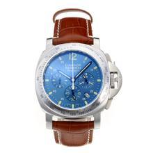 Replique Panerai Luminor Daylight travail Chronographe avec cadran bleu-bracelet en cuir - Attractive Autres Panerai montre pour vous 30837