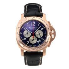 Replique Panerai Luminor Chrono-Chronographe en or rose avec bracelet en cuir cadran noir-noir - Attractive Autres Panerai montre pour vous 30832