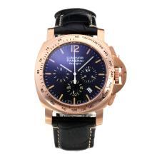 Replique Panerai Luminor Daylight Chronograph de travail boîtier en or rose avec bracelet en cuir cadran noir-noir - Attractive Autres Panerai montre pour vous 30831