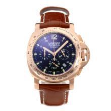 Replique Panerai Luminor Daylight Chronograph de travail boîtier en or rose avec bracelet en cuir cadran noir-brun - Attractive Autres Panerai montre pour vous 30828
