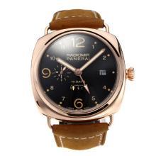 Replique Panerai Radiomir 10 Days Automatic Power Reserve boîtier en or rose avec cadran noir-bracelet en cuir - Attractive Panerai Radiomir Montre pour vous 30819