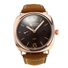 Replique Automatique Panerai Radiomir en or rose avec cadran café-bracelet en cuir - Attractive Panerai Radiomir Montre pour vous 30817