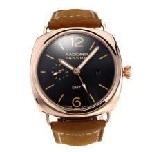 Replique Automatique Panerai Radiomir en or rose avec cadran noir-bracelet en cuir - Attractive Panerai Radiomir Montre pour vous 30816