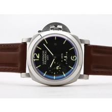Replique Panerai Luminor GMT 8 jours With18K Mouvement plaqué or avec cadran noir-bracelet en cuir - Attractive Panerai Power Reserve / GMT Regarder pour vous 31450
