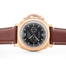 Replique Panerai Luminor 1950 Flyback chronographe de travail boîtier en or rose avec cadran noir - Attractive Panerai Luminor Marina Montre pour vous 31421