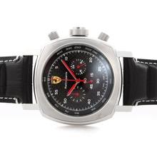 Replique Panerai Ferrari Rattrapante Chronograph Pour Travailler avec cadran en fibre de carbone Noir - Bracelet en Cuir - Attractive Panerai Ferrari par Panerai montre pour vous 31400