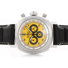 Replique Panerai Ferrari Pour travail Chronographe avec cadran jaune - bracelet en cuir - Attractive Panerai Ferrari par Panerai montre pour vous 31398
