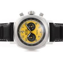 Replique Panerai Ferrari Pour travail Chronographe avec cadran jaune - bracelet en cuir - Attractive Panerai Ferrari par Panerai montre pour vous 31397
