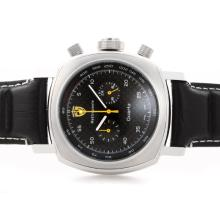 Replique Panerai Ferrari Rattrapante Chronograph Pour Travailler avec Cadran Noir Style Carbon Fibre - Bracelet en Cuir - Attractive Panerai Ferrari par Panerai montre pour vous 31395