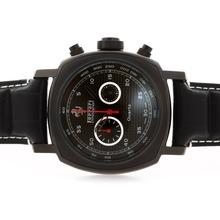 Replique Panerai Ferrari Pour Travailler Chronographe PVD affaire avec cadran noir Style Carbon Fibre - Attractive Panerai Ferrari par Panerai montre pour vous 31362