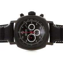 Replique Panerai Ferrari Rattrapante Pour Travailler Chronographe PVD affaire avec cadran noir Style Carbon Fibre - Attractive Panerai Ferrari par Panerai montre pour vous 31361