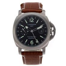 Replique Panerai Luminor GMT Titanium Case de travail automatique avec cadran noir-bracelet en cuir - Attractive Panerai Power Reserve / GMT Regarder pour vous 31267
