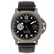 Replique Panerai Luminor GMT Titanium Case de travail automatique avec cadran noir-bracelet en cuir - Attractive Panerai Power Reserve / GMT Regarder pour vous 31266