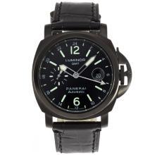 Replique Panerai Luminor GMT Montre Automatique PVD affaire avec cadran noir-bracelet en cuir - Attractive Panerai Power Reserve / GMT Regarder pour vous 31265