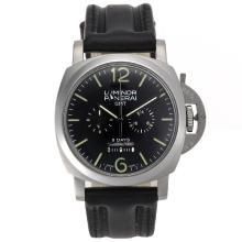 Replique Panerai Luminor 8 jours ouvrables chronographe avec cadran noir-bracelet en cuir - Panerai Luminor Marina attrayante montre pour vous 31247