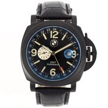 Replique Panerai / BMW GMT Automatique PVD affaire avec cadran noir-bracelet en cuir - Attractive Panerai Power Reserve / GMT Regarder pour vous 31245