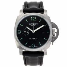Replique Panerai Luminor GMT travail automatique avec cadran noir-bracelet en cuir - Attractive Panerai Power Reserve / GMT Regarder pour vous 31221