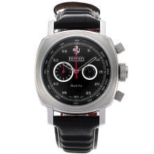 Replique Panerai Ferrari Pour travail Chronographe avec cadran noir à carreaux-bracelet en cuir - Attractive Panerai Ferrari par Panerai montre pour vous 31186