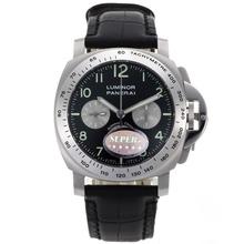 Replique Panerai Luminor Chronographe Suisse Valjoux 7750 Mouvement avec cadran noir-bracelet en cuir - Attractive Panerai Luminor Marina Montre pour vous 31182