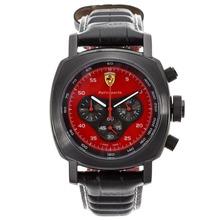 Replique Panerai Ferrari Pour Rettrapante travail Cas Chrono PVD avec Red Dial-bracelet en cuir - Attractive Panerai Ferrari par Panerai montre pour vous 31181