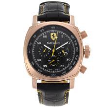 Replique Panerai Ferrari Rattrapante Chronograph de travail boîtier en or rose avec fibre de carbone noir Style Dial-bracelet en cuir - Attractive Panerai Ferrari Panerai Regarder par pour vous 31142