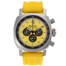 Replique Panerai Ferrari de travail Chronographe avec cadran jaune-Rubber Strap - Attractive Panerai Ferrari par Panerai montre pour vous 31139