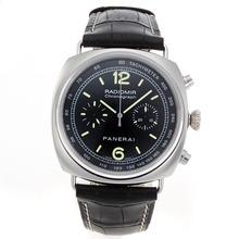 Replique Panerai Radiomir Chronograph Valjoux 7750 Mouvement suisse avec cadran noir-bracelet en cuir - Attractive Panerai Radiomir Montre pour vous 31133