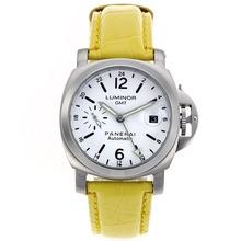 Replique Panerai Luminor GMT automatique avec bracelet en cuir cadran blanc-jaune - Attractive Panerai Power Reserve / GMT Regarder pour vous 31113