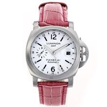 Replique Panerai Luminor GMT travail automatique avec bracelet en cuir cadran blanc-rouge - Attractive Panerai Power Reserve / GMT Regarder pour vous 31112