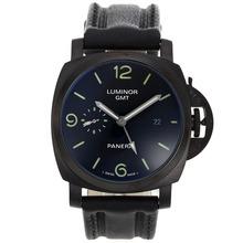 Replique Panerai Luminor GMT Montre Automatique PVD affaire avec cadran noir-bracelet en cuir - Attractive Panerai Power Reserve / GMT Regarder pour vous 31099