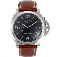 Replique Panerai Luminor GMT suisse Valjoux 7750 Mouvement avec cadran noir-bracelet en cuir - Attractive Panerai Power Reserve / GMT Regarder pour vous 31090