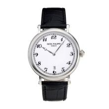 Replik Patek Philippe Calatrava with White Dial-Leather Strap – Attractive Patek Philippe Calatrava Watch for You 34071
