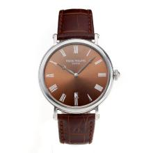 Replik Patek Philippe Calatrava with Coffee Dial-Leather Strap – Attractive Patek Philippe Calatrava Watch for You 34070