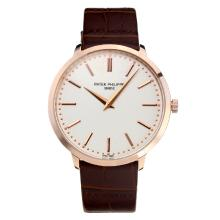 Replik Patek Philippe Calatrava Rose Gold Case with White Dial-Leather Strap – Attractive Patek Philippe Calatrava Watch for You 34069