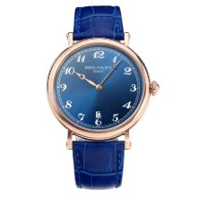 Replik Patek Philippe Calatrava Rose Gold Case with Blue Dial-Leather Strap – Attractive Patek Philippe Calatrava Watch for You 34066