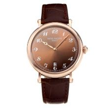 Replik Patek Philippe Calatrava Rose Gold Case with Coffee Dial-Leather Strap – Attractive Patek Philippe Calatrava Watch for You 34065