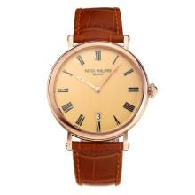 Replik Patek Philippe Calatrava Rose Gold Case with Orange Dial-Leather Strap – Attractive Patek Philippe Calatrava Watch for You 34064