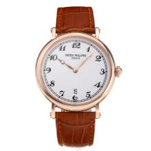 Replik Patek Philippe Calatrava Rose Gold Case with White Dial-Leather Strap – Attractive Patek Philippe Calatrava Watch for You 34063