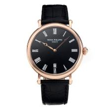 Replik Patek Philippe Calatrava Rose Gold Case with Black Dial-Leather Strap – Attractive Patek Philippe Calatrava Watch for You 34062