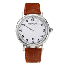 Replik Patek Philippe Calatrava with White Dial-Leather Strap – Attractive Patek Philippe Calatrava Watch for You 34061