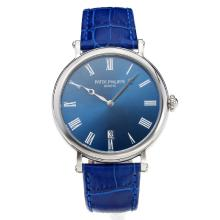 Replik Patek Philippe Calatrava with Blue Dial-Leather Strap – Attractive Patek Philippe Calatrava Watch for You 34060