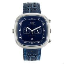Replik Tag Heuer Silverstone Working Chronograph with Blue Dial-Blue Leather Strap 27500