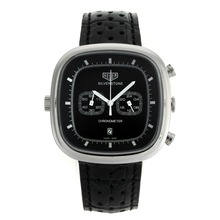 Replik Tag Heuer Silverstone Working Chronograph with Black Dial-Black Leather Strap 27499