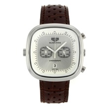 Replik Tag Heuer Silverstone Working Chronograph with Silver Dial-Brown Leather Strap 27498