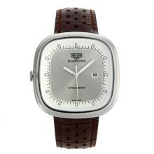 Replik Tag Heuer Silverstone with Silver Dial-Brown Leather Strap 27496