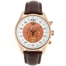 Replique Tag Heuer Mikrotimer-Chronographe en or rose avec White / Champagne Dial-Brown Leather Strap - Attractive Tag Heuer Mikrotimer montre pour vous 27462