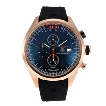 Replik Tag Heuer Mikrogirder 10000 Working Chronograph Rose Gold Case with Black Dial-Rubber Strap 27285
